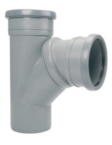 Airfit pp verstelbaar T-stuk 45°-90°, grijs, 32mm