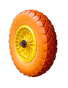 Compleet wiel tbv kruiwagen, massief, oranje, grote noppen