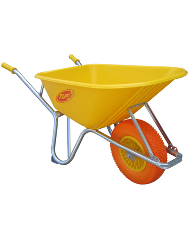 Kruiwagen met kunststof bak, PX120XF, 100l, 275 kg, geel