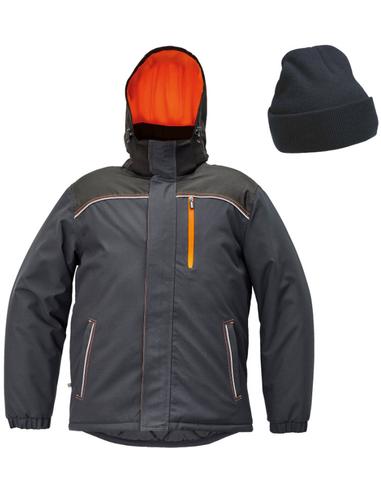 Cerva Knoxfield winterjas, antraciet/oranje + gratis muts