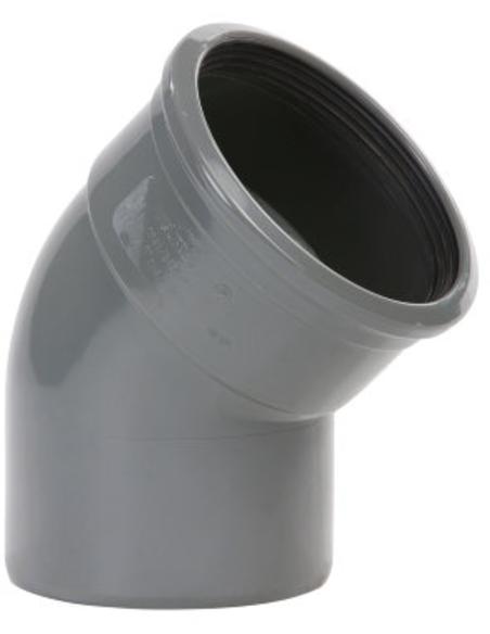 Pvc bocht 15°, manchet x spie, KOMO, SN4-SN8, 110 mm