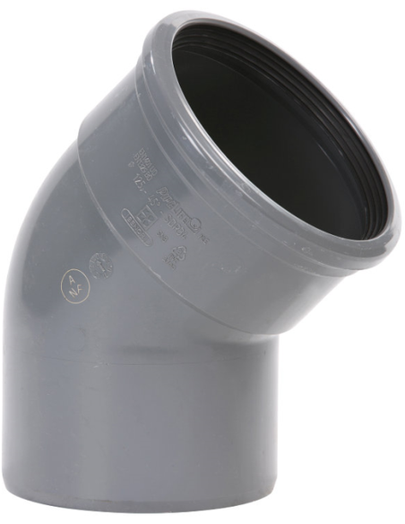 Pvc bocht 45°, manchet x spie, KOMO, SN4 110 mm