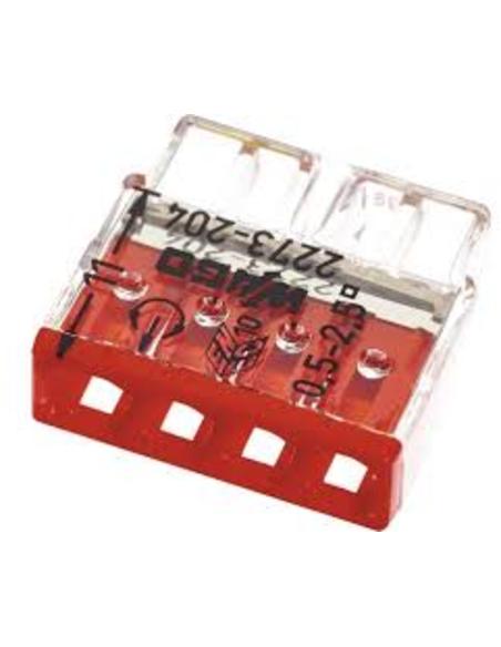 Wago lasklem, transparant rood, 4x 0,5 - 2,5 mm²