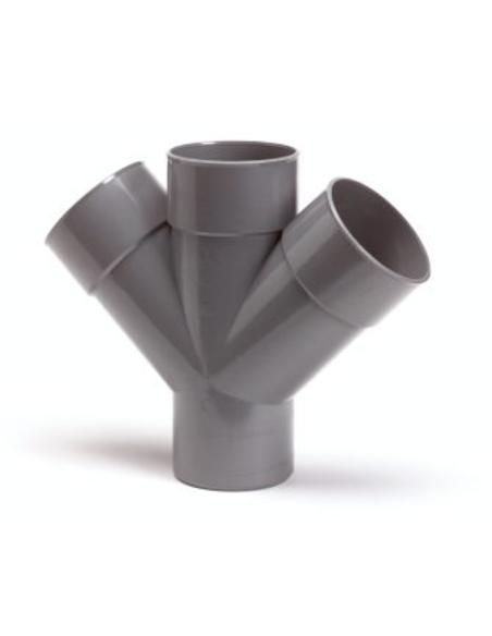 Pvc dubbel T-stuk 45°, 3x inw lijm/1x uitw lijm, KOMO, 110mm