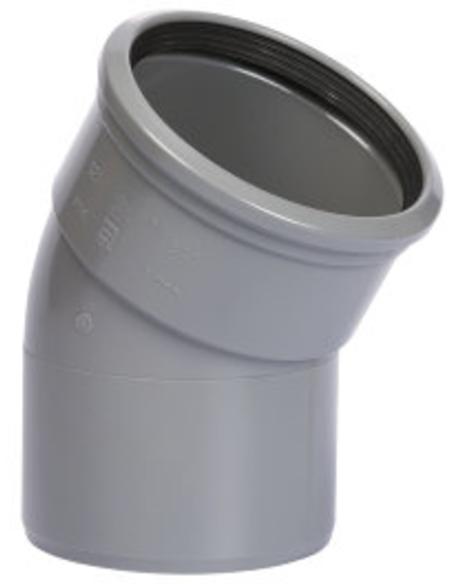 Pvc bocht 30°, manchet x spie, KOMO, SN4-SN8, 110 mm
