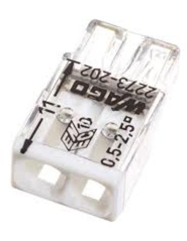 Wago lasklem, transparant wit, 2x 0,5 - 2,5 mm²
