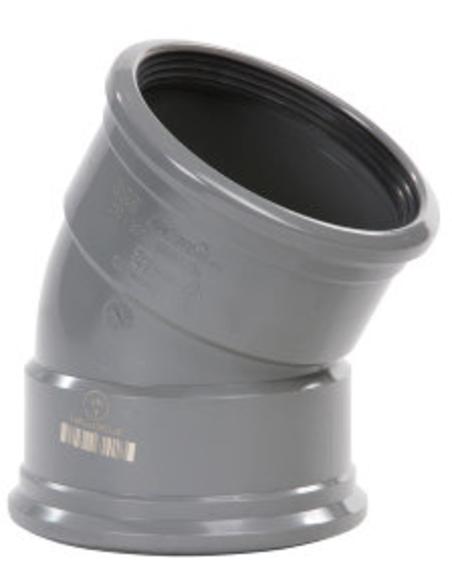 Pvc-bocht 30°, 2x manchet, KOMO, SN4-SN8, 110 mm