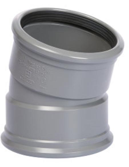 Pvc bocht 15°, 2x manchet, KOMO, SN4-SN8, 110 mm