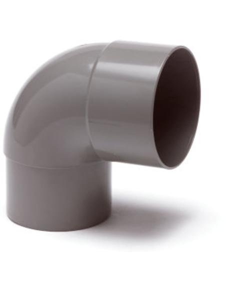 Pvc hwa bocht 87°, grijs, inw lijmxverjongd spie, 80 mm