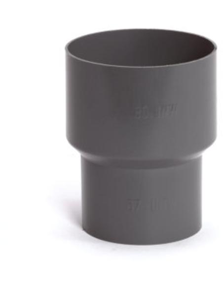 Pvc hwa verloopstuk voor vergaarbak, grijs, 80x67mm