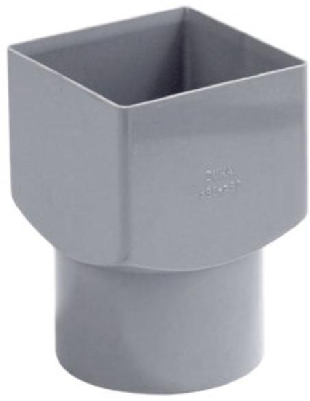 Pvc vierkant/rond hwa verloopstuk, grijs, 80x103mm