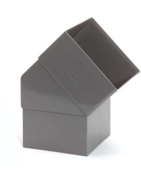 Pvc vierkante hwa bocht 45°, grijs, 100mm