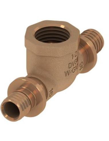 "TECEflex® schroef T-stuk 90°, brons, 16 mmx½"""
