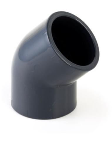VDL pvc knie 45°, 2x inwendig lijm, 16 bar, 25 mm