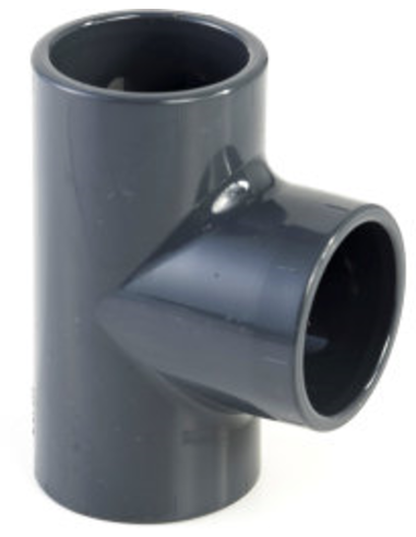 VDL pvc T-stuk 90°, 3x inwendig lijm, 16 bar, 25 mm